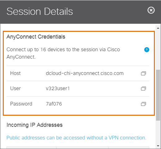 AnyConnect Credentials